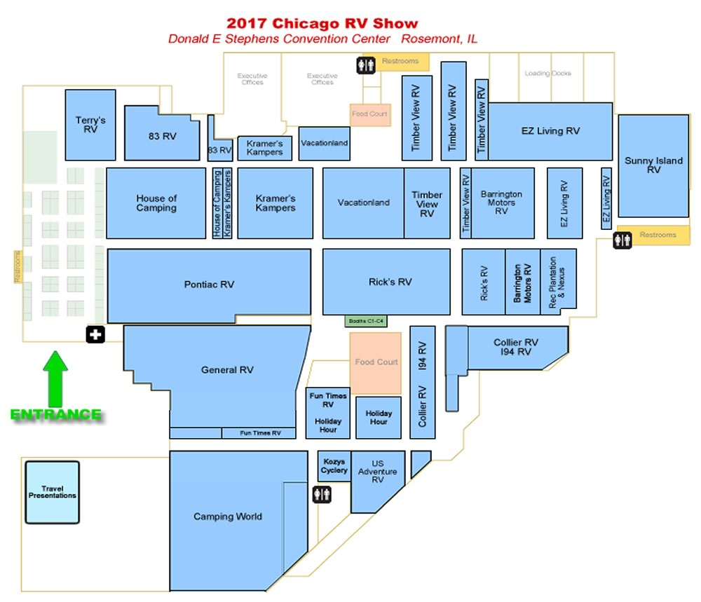 Convention Center Map Chicago RV  Camping Show - Chicago map rosemont